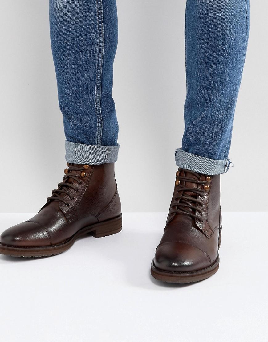Botas Casual de Cuero Marrón Oscuro de Burton Menswear