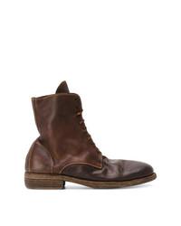 Botas casual de cuero en marrón oscuro de Guidi