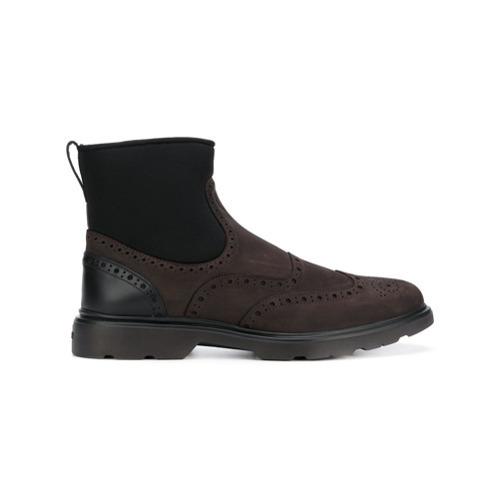 Botas casual de cuero en marrón oscuro de Hogan
