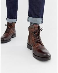 Botas casual de cuero en marrón oscuro de Jack & Jones