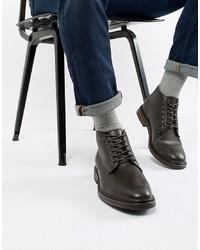 Botas casual de cuero en marrón oscuro de New Look
