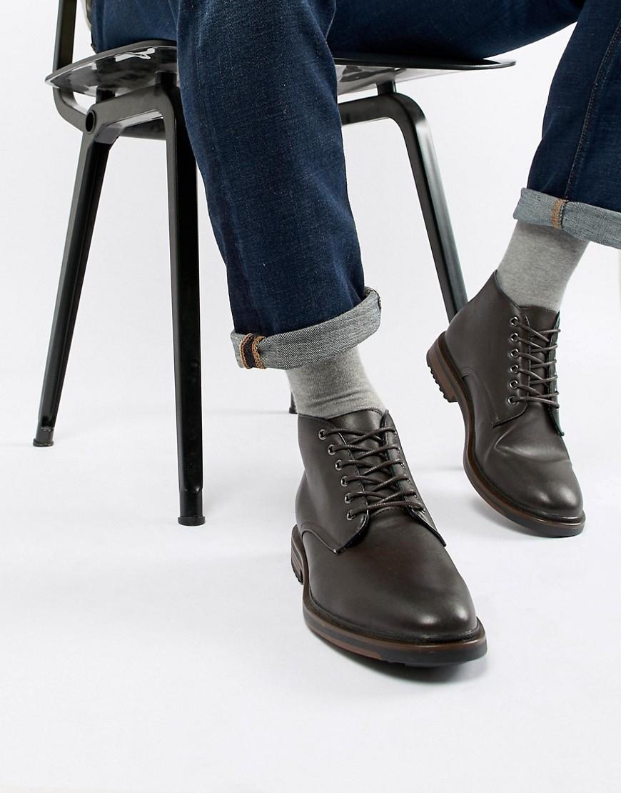 Botas Casual de Cuero Marrón Oscuro de New Look
