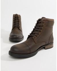 Botas casual de cuero en marrón oscuro de Silver Street