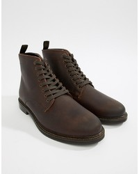 Botas casual de cuero en marrón oscuro de WALK LONDON