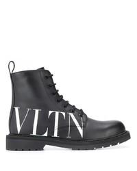 Botas casual de cuero en negro y blanco de Valentino