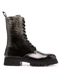 Botas casual de cuero estampadas en negro y blanco de Moschino