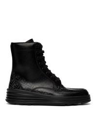 Botas casual de cuero estampadas negras de Fendi