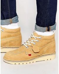 Botas casual de cuero marrón claro de Kickers