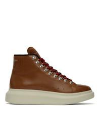 Botas casual de cuero marrónes de Alexander McQueen