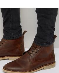 Botas casual de cuero marrónes de ASOS DESIGN