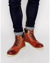 Botas casual de cuero marrónes de Asos