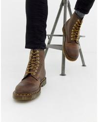 Botas casual de cuero marrónes de Dr. Martens