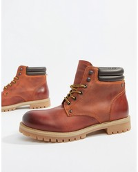 Botas casual de cuero marrónes de Jack & Jones