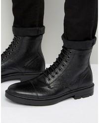 Botas casual de cuero negras de Asos