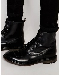 Botas Casual de Cuero Negras de Base London