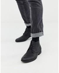 Botas casual de cuero negras de Jack & Jones