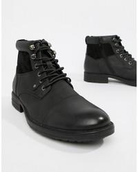 Botas casual de cuero negras de New Look