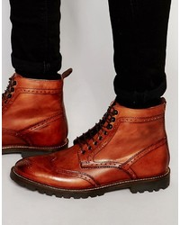 Botas casual de cuero rojas de Base London