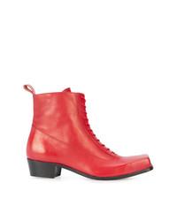 Botas casual de cuero rojas de Charles Jeffrey Loverboy