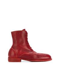 Botas casual de cuero rojas de Guidi