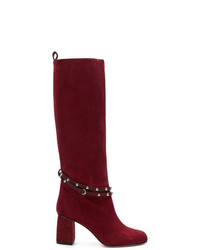 Botas de caña alta de ante burdeos de RED Valentino