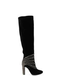 Botas de caña alta de ante negras de Alberta Ferretti
