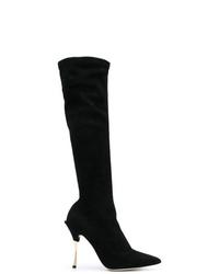 Botas de caña alta de ante negras de Dolce & Gabbana