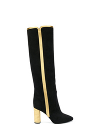 Botas de caña alta de ante negras de Saint Laurent
