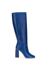 Botas de caña alta de cuero azules de RED Valentino