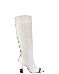 Botas de caña alta de cuero blancas de Stuart Weitzman