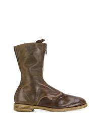 Botas de caña alta de cuero en marrón oscuro de Guidi