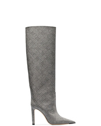Botas de caña alta de cuero grises de Jimmy Choo