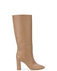 Botas de caña alta de cuero marrón claro de Gianvito Rossi