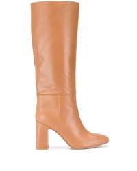 Botas de caña alta de cuero marrón claro de Stuart Weitzman