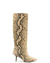 Botas de caña alta de cuero marrón claro de Yeezy