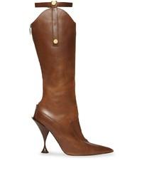 Botas de caña alta de cuero marrónes de Burberry