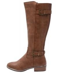Botas de caña alta de cuero marrónes de Dorothy Perkins