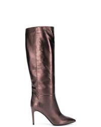 Botas de caña alta de cuero marrónes de Pollini