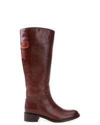 Botas de caña alta de cuero marrónes de Sarah Chofakian