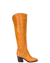 Botas de caña alta de cuero naranjas de Derek Lam