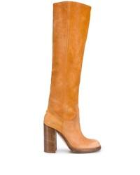 Botas de caña alta de cuero naranjas de Dsquared2