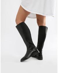 Botas de caña alta de cuero negras de ASOS DESIGN