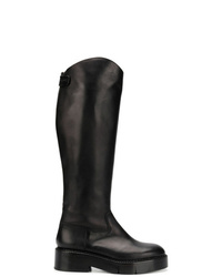 Botas de caña alta de cuero negras de Clergerie
