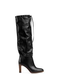 Botas de caña alta de cuero negras de Gucci