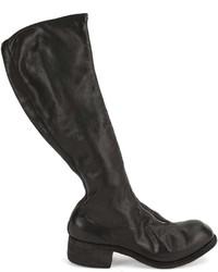 Botas de caña alta de cuero negras de Guidi