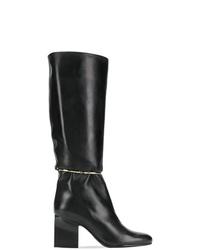 Botas de caña alta de cuero negras de Jil Sander