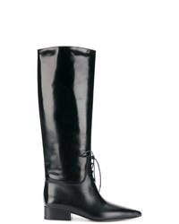 Botas de caña alta de cuero negras de Off-White