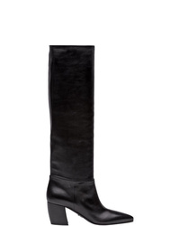 Botas de caña alta de cuero negras de Prada