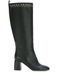 Botas de caña alta de cuero negras de RED Valentino