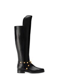 Botas de caña alta de cuero negras de Versace